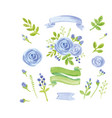 watercolor blue floral decor set with ribbons vector image vector image