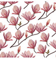 seamless pattern with blossom brunches of magnolia vector image