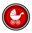 Isolated white baby carriage silhouette on red cir vector image
