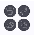 Leaf scissors and pot icons vector image
