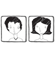 Woman and man hand drawn avatar isolated on white vector image