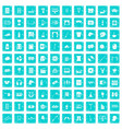 100 leisure icons set grunge blue vector image vector image