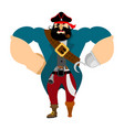 angry strong pirate powerful big buccaneer vector image vector image