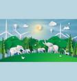 animal wildlife in green parkcreative paper cut vector image vector image
