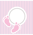 Background with two child foot steps and place for vector image vector image