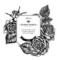 badge design with black and white roses vector image