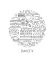 bakery pastry in circle - concept line vector image