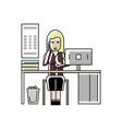 blonde businesswoman talking on phone vector image