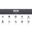 bpm simple concept icons set contains such icons vector image vector image