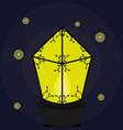 burning lantern with fireflies vector image
