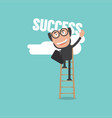 businessman climb up fixed ladder to reach success vector image vector image