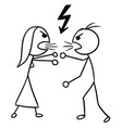 cartoon man and women fighting vector image vector image