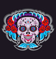 cartoon skeleton skull with mexico ornaments vector image