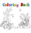 Cartoon under water coloring book vector image vector image