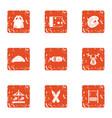 childishness icons set grunge style vector image