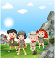 Children camping out in the field vector image vector image