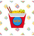 chinese japan wok fast food pattern in flat style vector image vector image