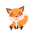 cute fox character in love with hearts in its eyes vector image vector image