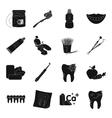 Dental care set icons in black style Big vector image vector image