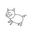 Doodle pig animal icon vector image vector image