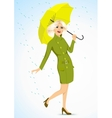 friendly woman holding an umbrella vector image vector image