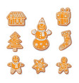 gingerbread cookies set isolated vector image vector image