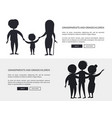grandparents and grandson little and grown up set vector image