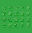 grass simple paper cut icons set vector image vector image