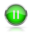 green round media button pause button shiny icon vector image