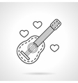 Guitar and hearts black flat line icon vector image vector image