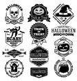Halloween labels badges set With kcull vector image