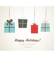 hanging christmas and seasonal presents vector image