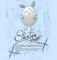 happy easter card with easter eggs and greetings vector image vector image