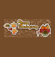 happy thanksgiving stickers cartoon wheelbarrow vector image vector image