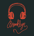 headphone brooklyn hand drawing grunge vector image vector image