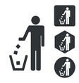 Keep clean icon set monochrome vector image