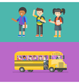 kids at school and in bus vector image vector image