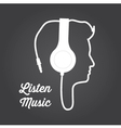 man profile silhouette with headphone music vector image vector image