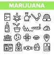 marijuana smoking culture linear icons set vector image