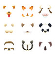 masks of funny animals ears and nose vector image vector image