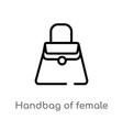 outline handbag female icon isolated black vector image vector image