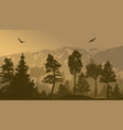 pine forest landscape background vector image vector image