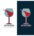 seafood restaurant design template with wine glass vector image vector image
