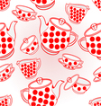 Seamless texture tea service with red dots vector image vector image