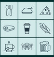 set of 9 meal icons includes fresh dining vector image vector image