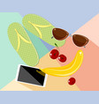 set of beach objects vector image vector image