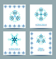 Set of four white square cards with ethnic design vector image vector image