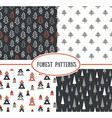 Set of seamless pattern with stylish Christmas vector image vector image