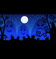 silhouette monsters in moonlight scary shadows vector image