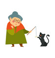 smiling granny old lady playing with her black vector image vector image